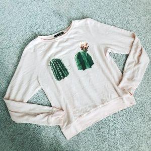 Wildfox Pink Cactus Don't Touch Jumper Sweatshirt